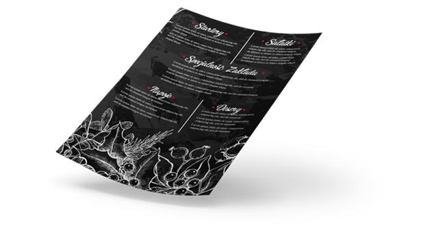 projekty kart menu