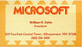 Wizytówka Bill Gates Microsoft